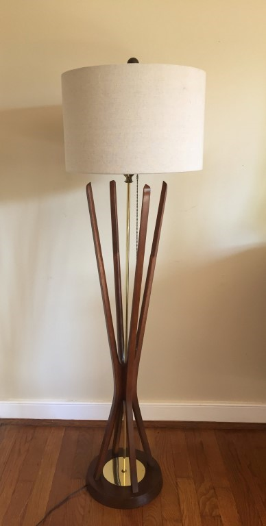 mid century modern sculpted walnut brass floor lamp