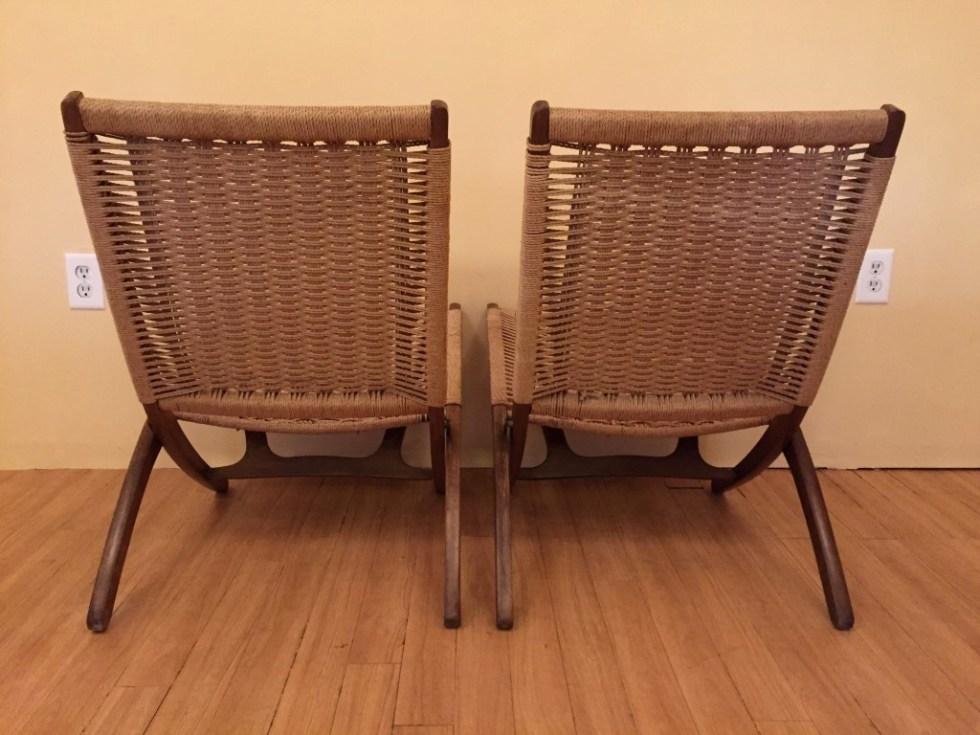 vintage danish folding scissor chair hans wegner