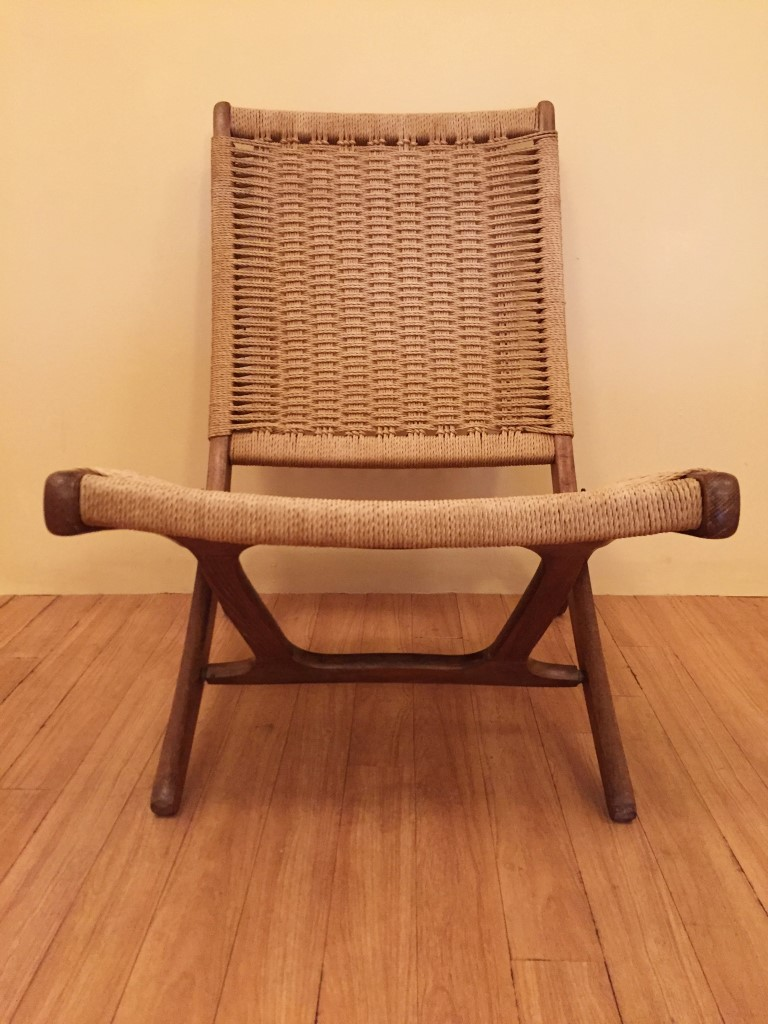 Vintage Folding Scissor Chairs in the style of Hans Wegner
