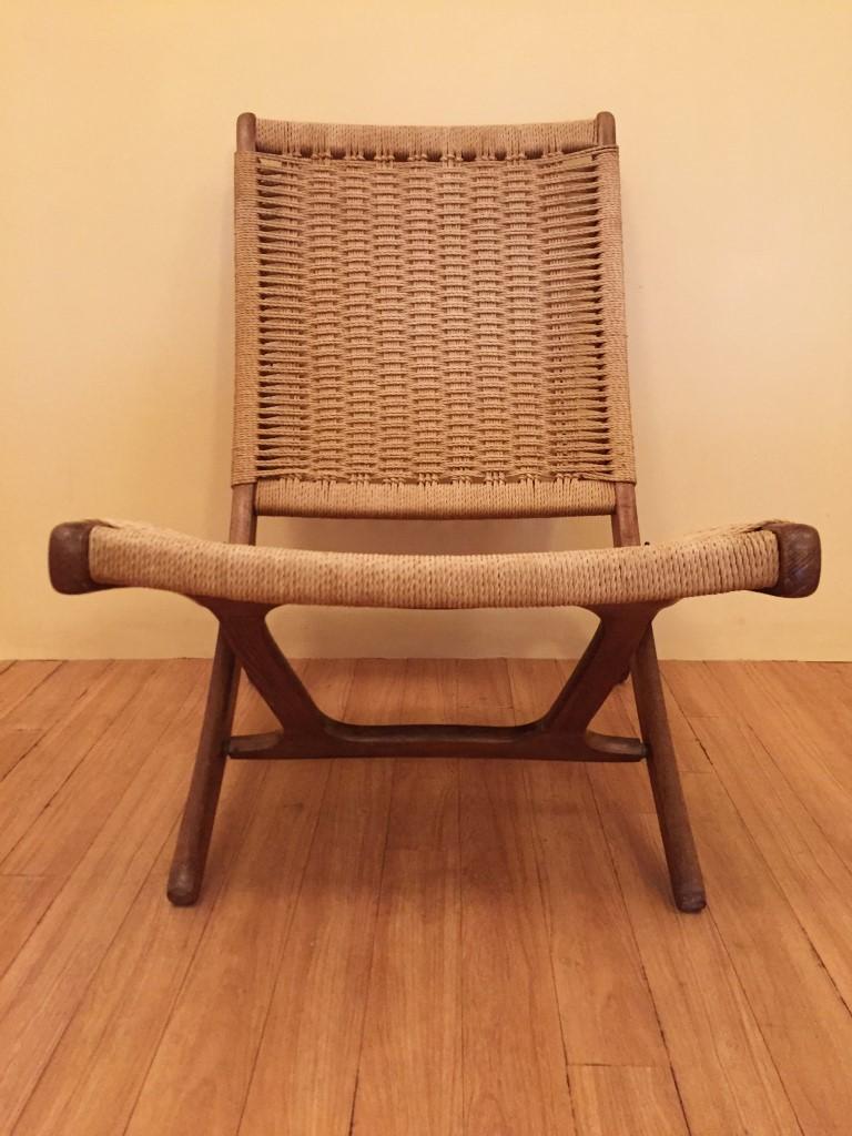 vintage danish scissor folding chair