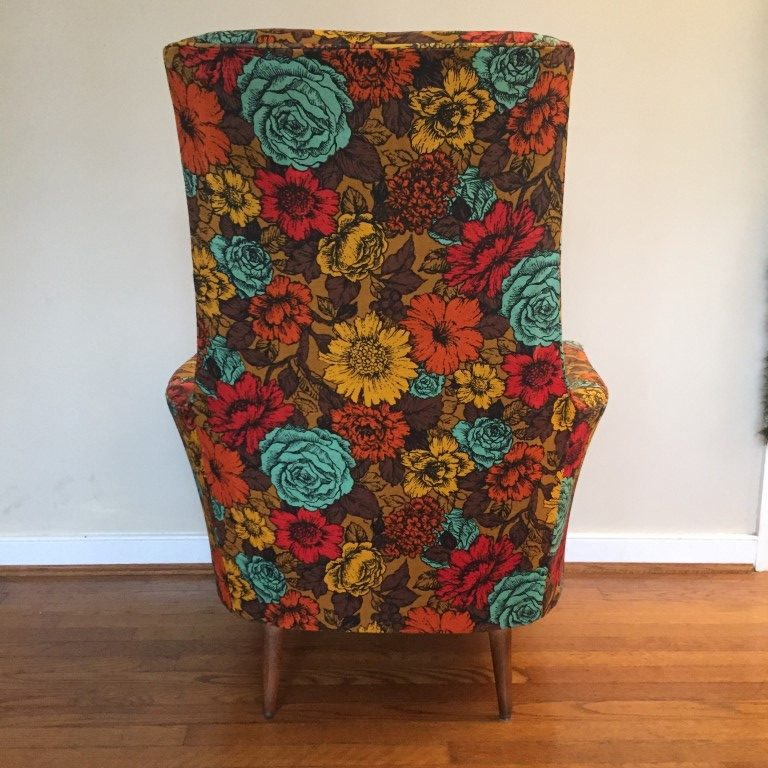 vintage wood high chair office handles mid-century flower print arm in the style of adrian pearsall - epoch