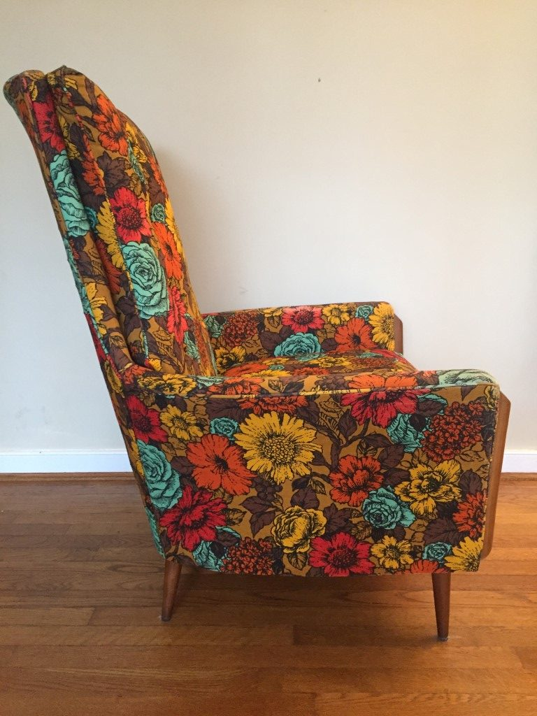 Vintage MidCentury Flower Print Arm Chair in the style of