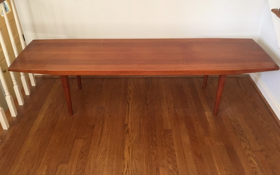 mid century Danish modern solid teak coffee table