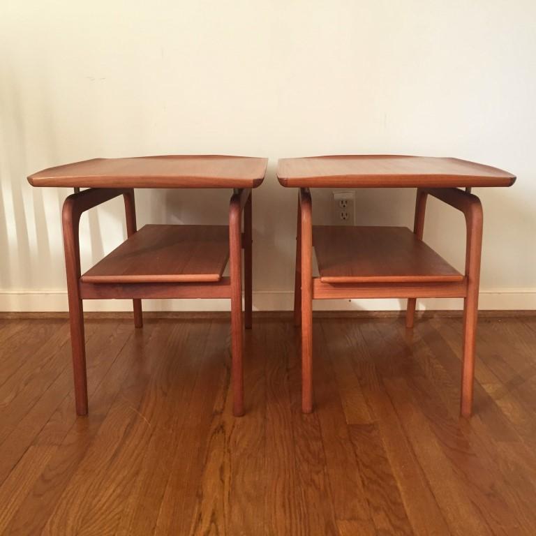 mid century floating teak side tables