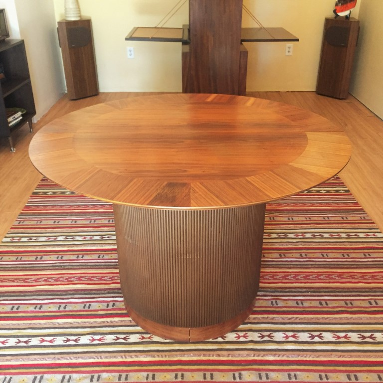 mid-century-modern-circular-walnut-dining-table-andre-bus-Lane-first-edition-collection