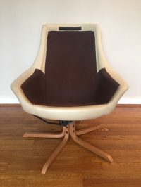 Danish Modern Leather Swivel Lounge Chair and Ottoman by H ...