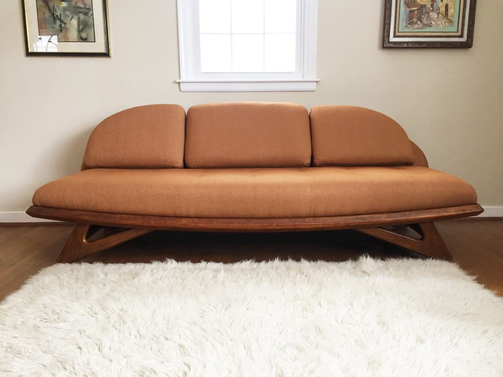 mid century modern walnut framed sofa by Adrian Pearsall for Lane