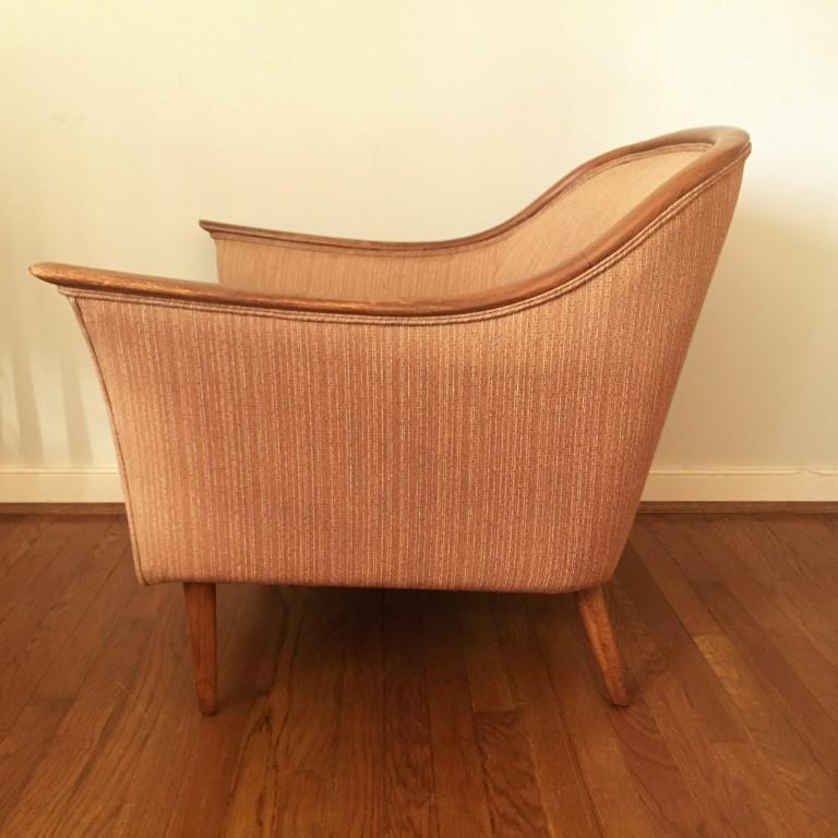 Vintage Mid Century Modern Teak Framed Upholstered Chair