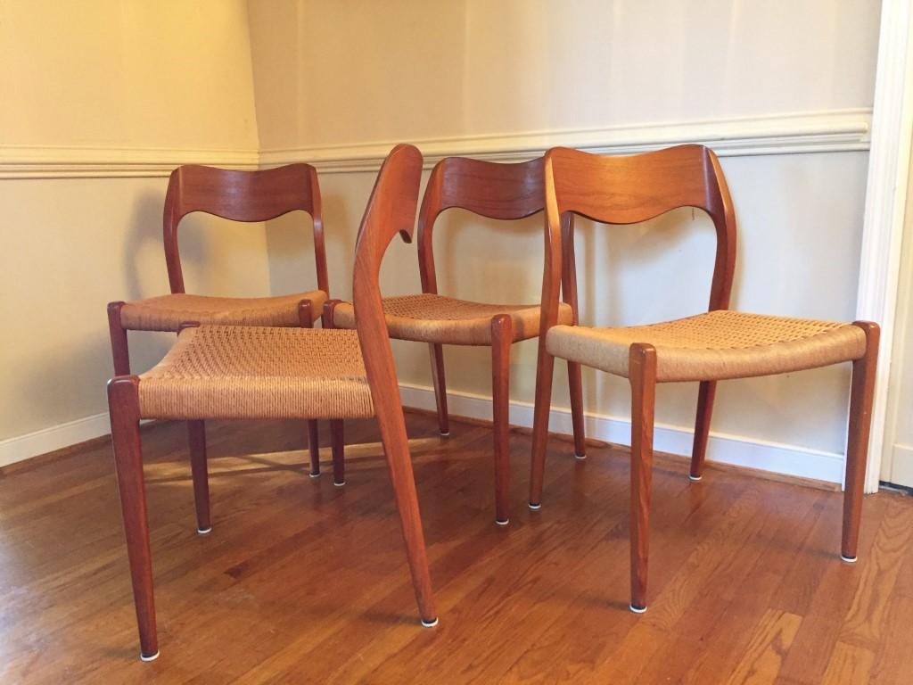 Niels Moller Model 71 Danish Modern Dining Chairs 4  EPOCH