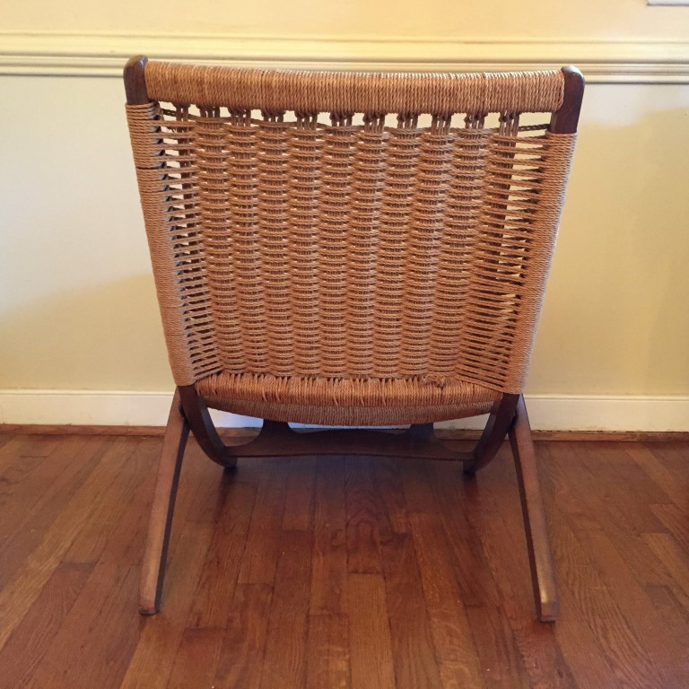 yugoslavian folding chair plastic outdoor stacking chairs vintage mid-century modern corded in the style of hans wegner - epoch