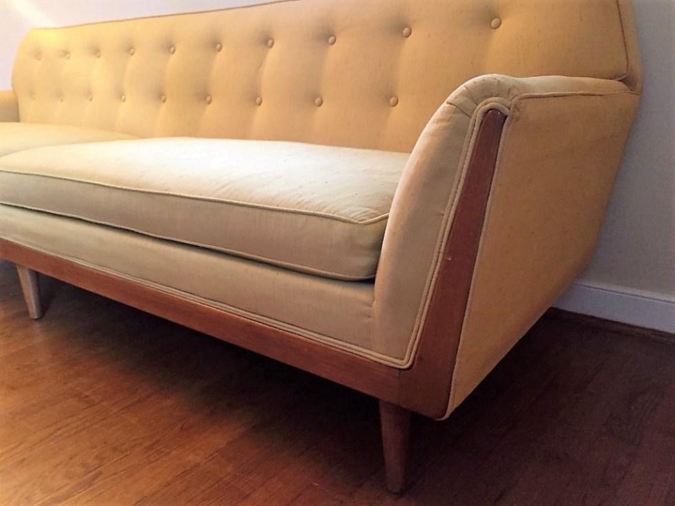 Mid century modern dupioni silk upholstered sofa drexel parallel barney flagg