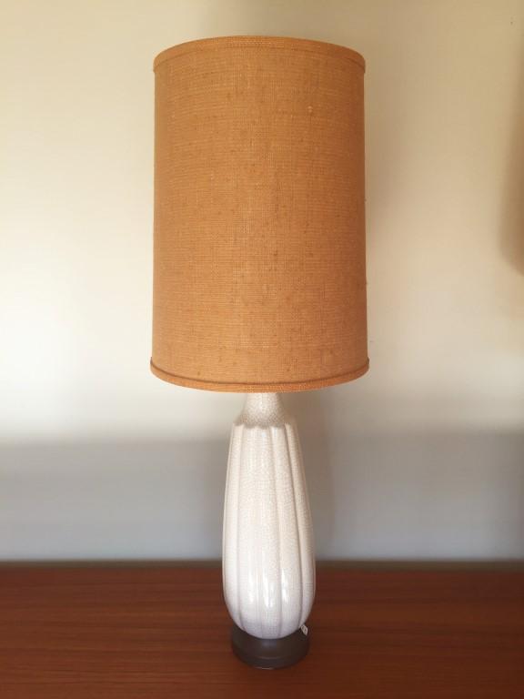 crackle glazed white fluted ceramic table lamps burlap shades