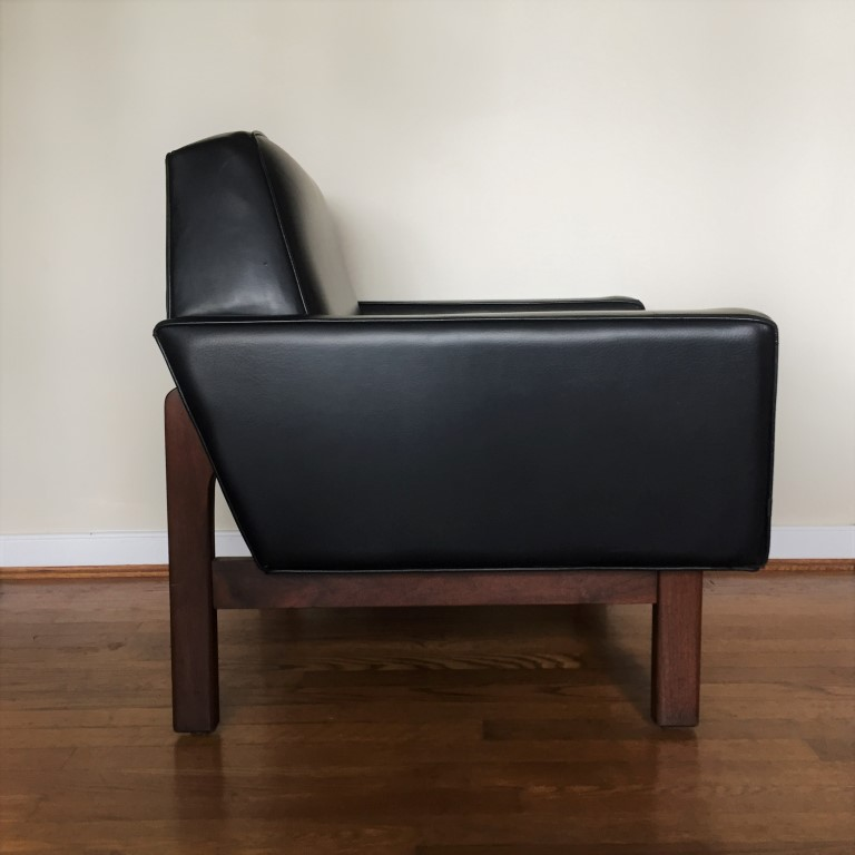 mid century modern leather armchair walnut frame