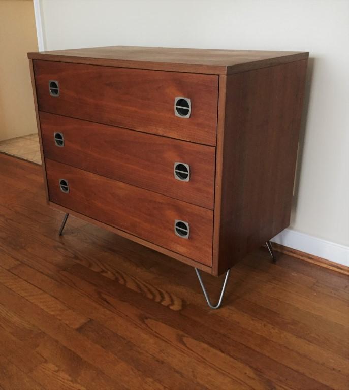 vintage walnut 3 drawer chest