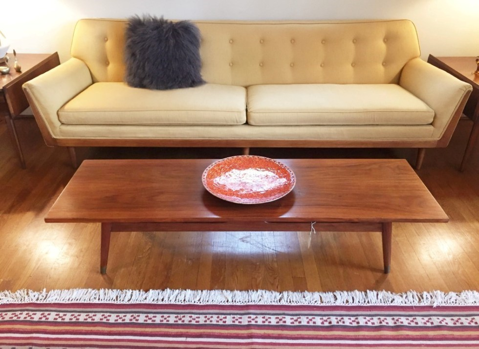 Mid Century Modern Drexel Parallel Custom Sofa Walnut