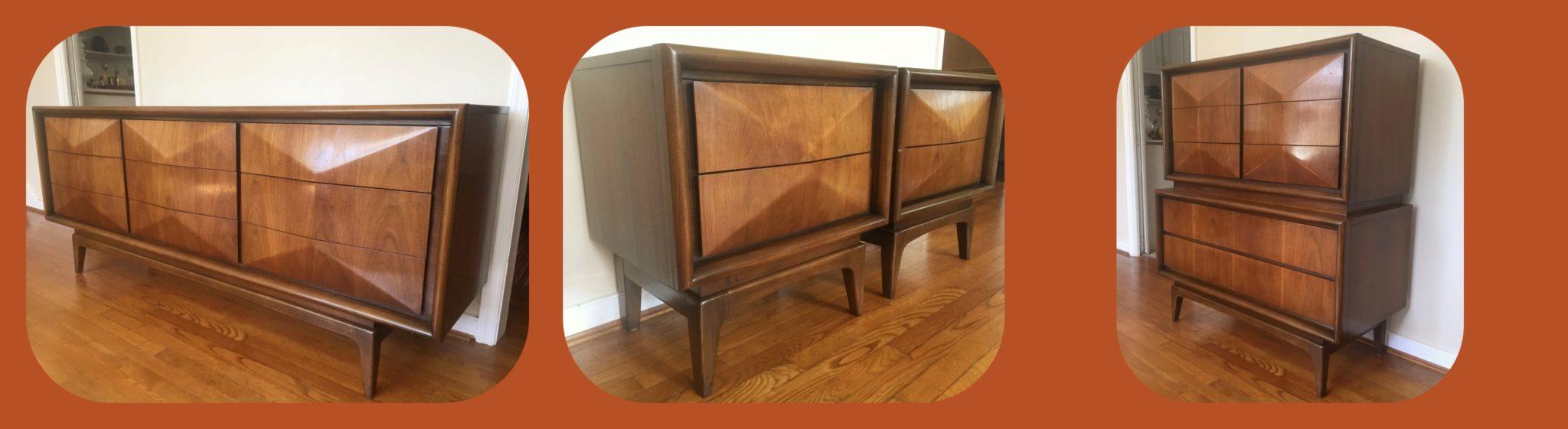 mid century modern diamond front dresser set