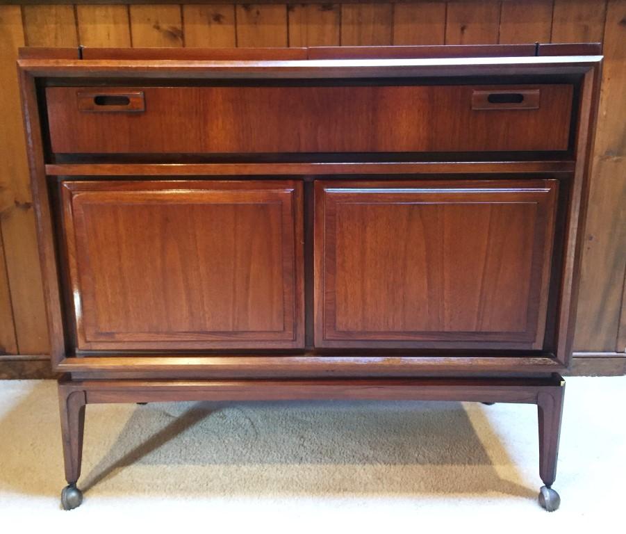 mid century modern bar cart walnut by United