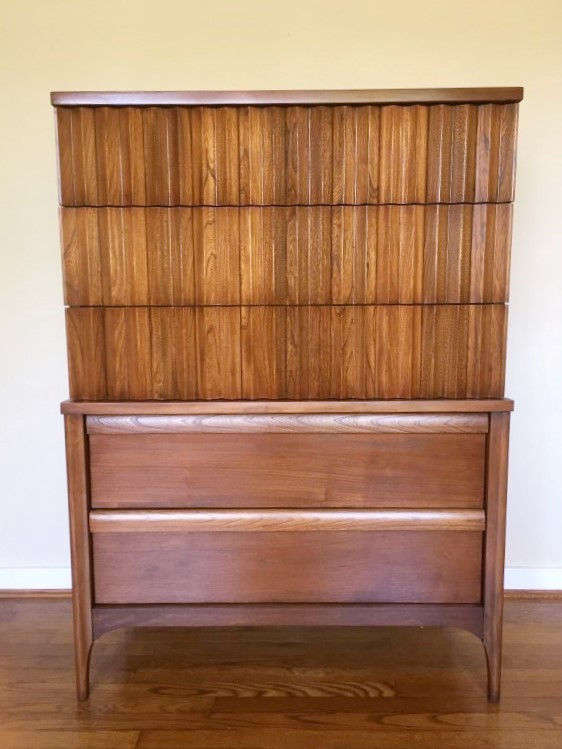 walnut highboy dresser accordion front refinished