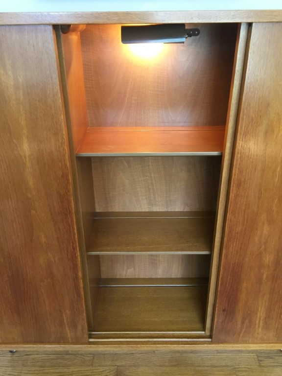 Mid Century Modern Illuminated Display Cabinet Sliding