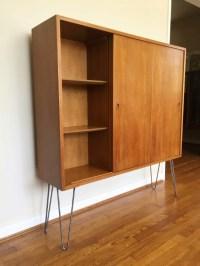 Mid Century Modern Illuminated Display Cabinet, Sliding ...