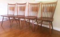 Set of 4 Black Walnut Dining Chairs by Drexel Declaration ...