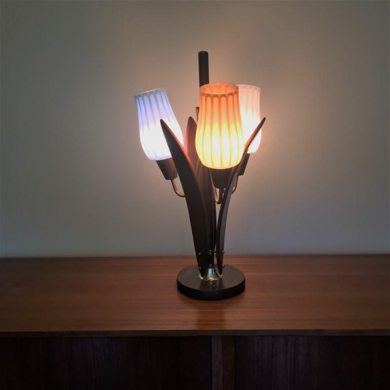 mid century modern walnut brass glass globe table lamp