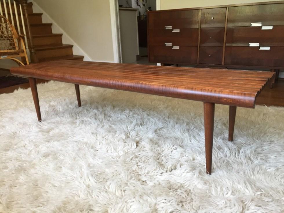 Mid Century modern solid wood slat coffee table