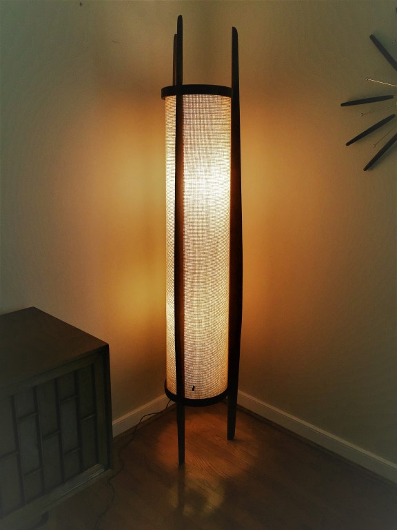 sculpted walnut mid century modern floor lamp