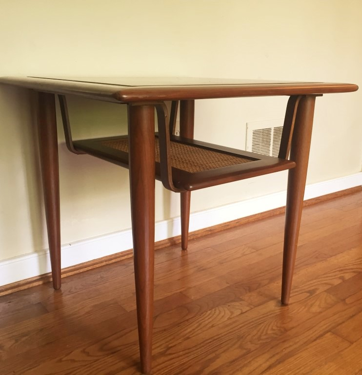 Mid Century Modern Coffee Table And End Tables With Rattan