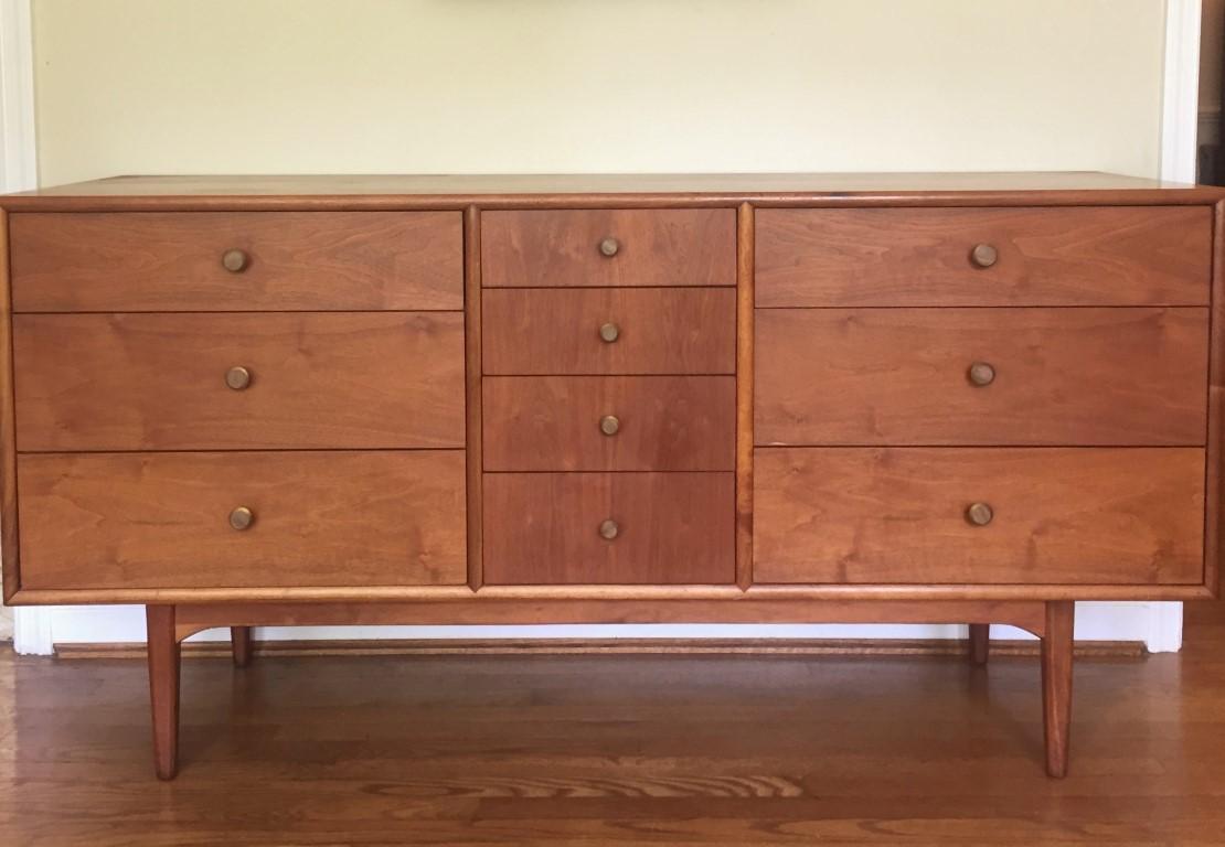 vintage mid century modern walnut triple dresser drexel declaration