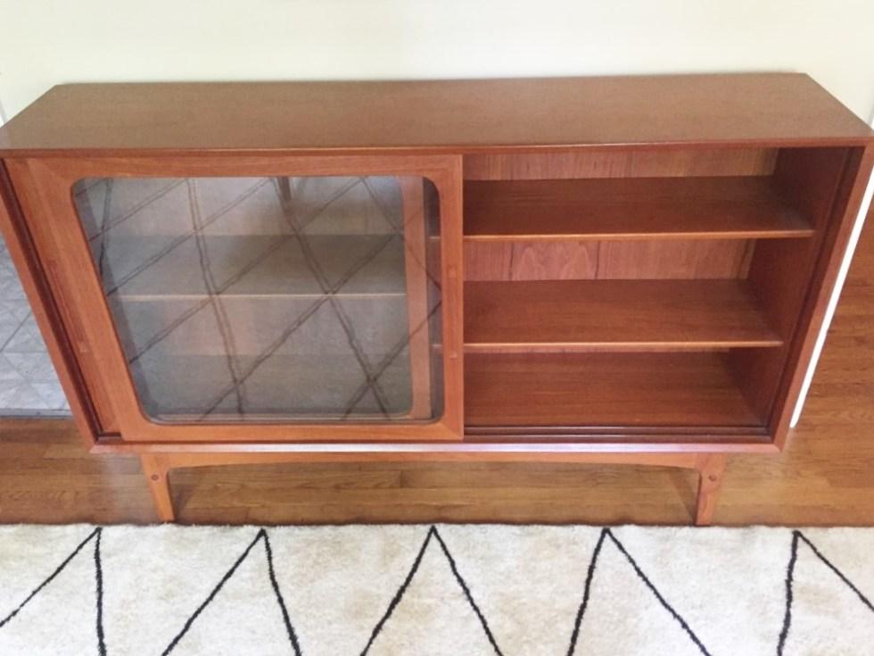 Danish mid century modern teak glass fronted storage display cabinet