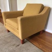 Pair Mid Century Upholstered Scandinavian Lounge Chairs ...