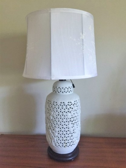 blanc de chine porcelain table lamps hand painted silk shades mid century