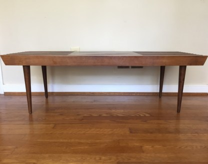mid century modernr expandable wood slat coffee table