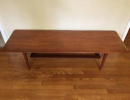 mid century modern john stuart coffee table suspended rattan shelf