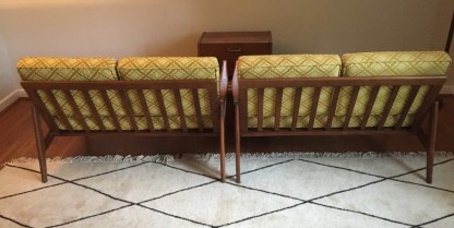 mid century modern sectional sofa walnut loveseat