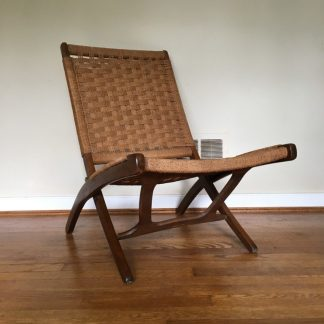 mid century modern hans wegner style collapsible scissor chair corded