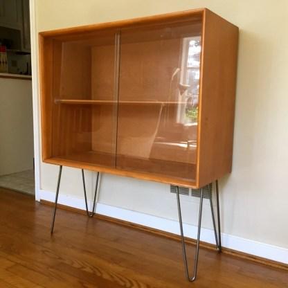 heywood wakefieldbirch display cabinet hairpin legs Mid Century Modern