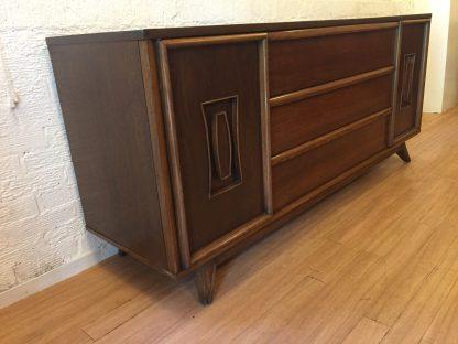 mid century modern lowboy walnut triple dresser
