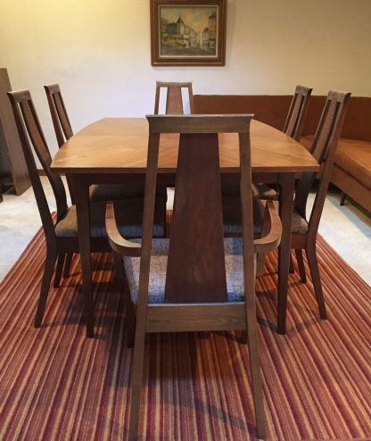 mid century modern dining set with leaves 6 chairs