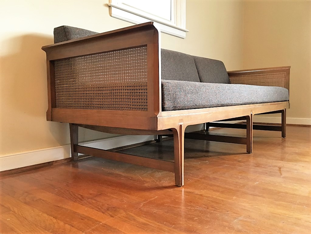Mid Century Modern Walnut Rattan Sofa By Drexel Furniture Company Epoch