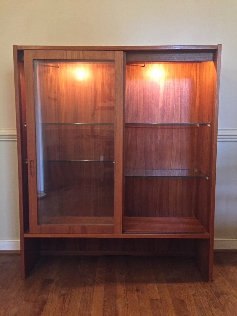 Illuminated Danish Modern Teak Display Cabinet By Hundevad