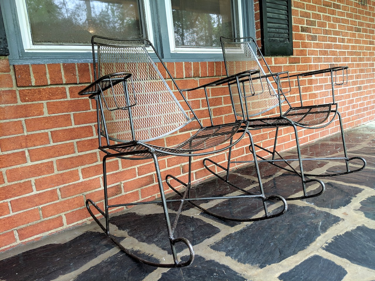 Mid Century Modern Wrought Iron Patio Chairs Attributed To John