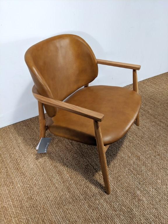 Contemporary Mid Century Modern Style Tan Leather Armchair ...
