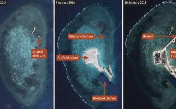 Imaginile  de satelit arată progresul făcut de China în perioada martie 2014 - 30  ianuarie 2015 (de la st la dr) în privinţa construirii unei insule în Reciful Gaven din  Insulele Spratly. (Captură Foto)