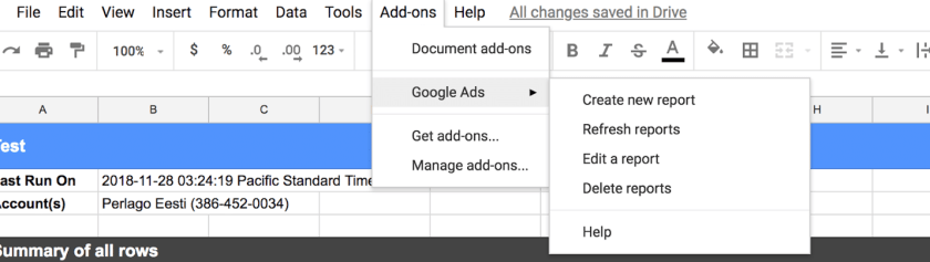 Spreadsheets Ads reporting add-on