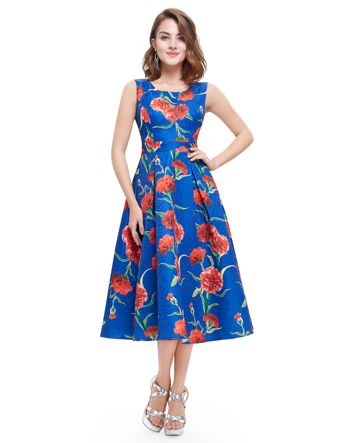 AlisaPan Womens Round Neck Short Casual Dress Printed Formal Prom Dresses 05443
