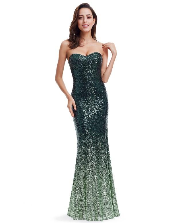 Green Mermaid Dress Sequins Cocktail Evening Dresses 07001