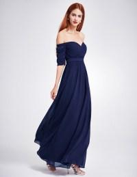 UK Women's Off-shoulder Prom Party Bridesmaid Wedding Maxi ...