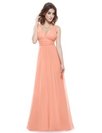 Long Formal Evening Gowns Chiffon Sleeveless Bridesmaid ...